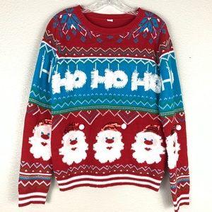 Red Blue Ho Ho Ho Santa Ugly Christmas Sweater